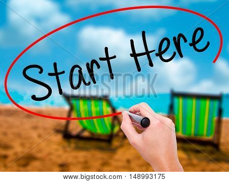 Man Hand Writing Start Here With Black Marker On Visual Screen
