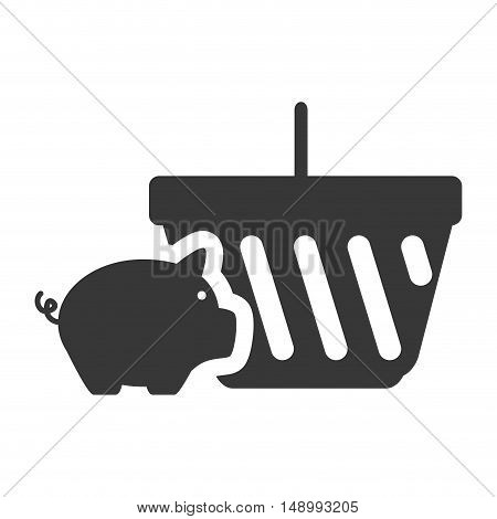 piggy moneybox with shopping basket icon silhouette. vector illustration