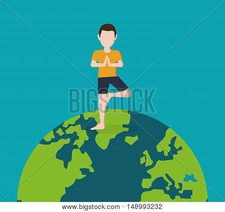 flat design yogi standing on planet earth image vector illustration
