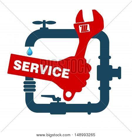 Repair plumbing and sanitary ware symbol wrench in hand