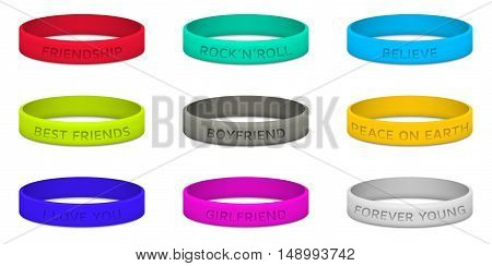 Set of multicolored rubber wristband. Vector illustration.