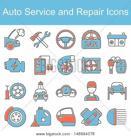 Car repair icons. Vector illustration. Outline colored icons