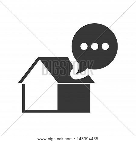 house property shape with speech bubble icon silhouette. vector illustration