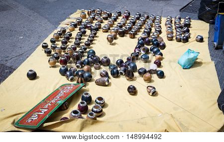 Assorted mate cups for sale in Buenos Aires