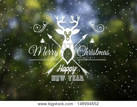 Vector blurred background for Merry christmas and happy new year seasonal BAckgrounds with Snow falling and a blur forest on the back
