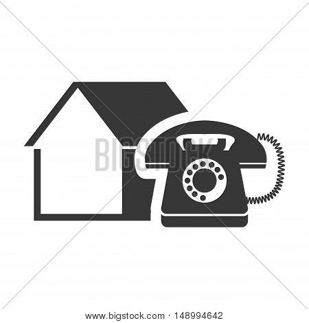 retro telephone device with house shape icon silhouette. vector illustration