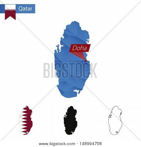 Qatar Blue Low Poly Map With Capital Doha.