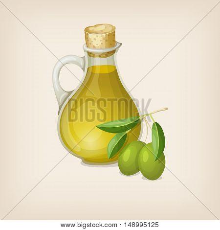 Bottle of olive oil and branch of olives. Vector illustration.