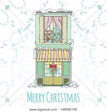 Christmas and New Year house invitation card. Hand drawn city vector illustration of winter decorated house on light background Winter holiday collection