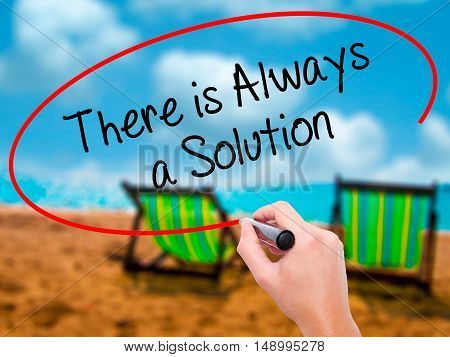 Man Hand Writing There Is Always A Solution With Black Marker On Visual Screen