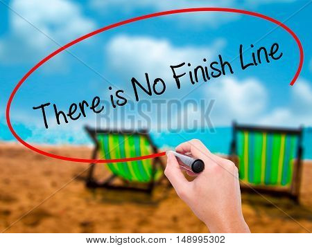 Man Hand Writing There Is No Finish Line With Black Marker On Visual Screen