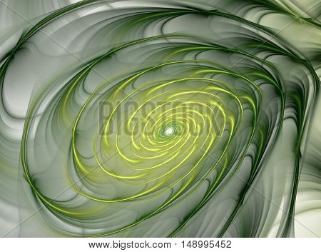 Abstract Fractal Colorful Background With Yellow And Green Spiral