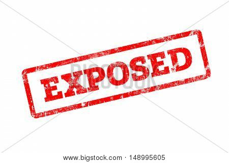 EXPOSED written on red rubber stamp with grunge edges.