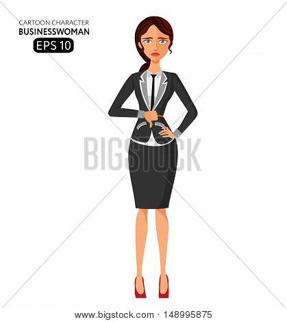 Frowning business woman. Flat Strict tutor. Disappointed character flat cartoon vector illustration. Eps10. Isolated on a white background.