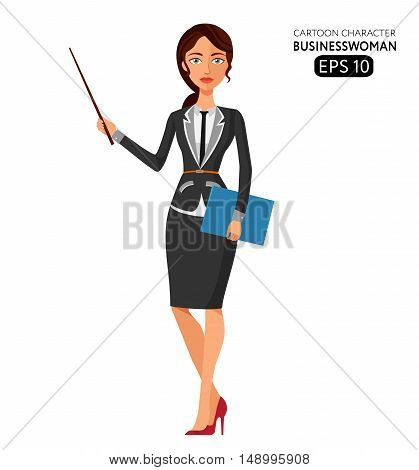 Teacher girl with book isolated on white. Business woman. Profession teacher vector. Profession teacher girl flat cartoon vector illustration. Eps10. Isolated on a white background.