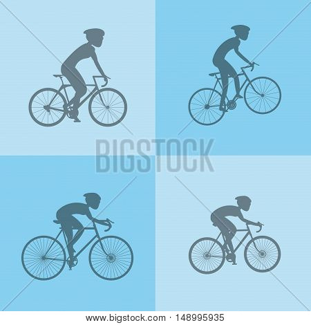 flat design assorted cyclists  image image vector illustration