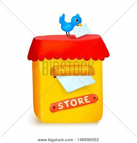 Cute little store yellow post box in cartoon style isolated on white background
