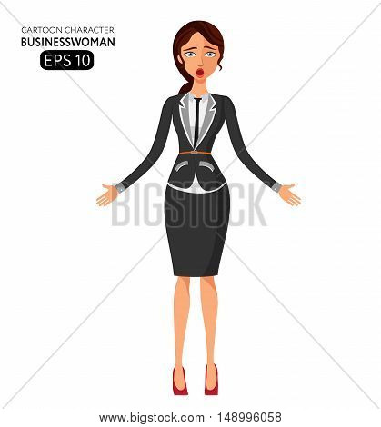 Surprised business woman with open mouth .Dumbfounded young business girl. Astonished mid aged woman. Emotional girl Character.