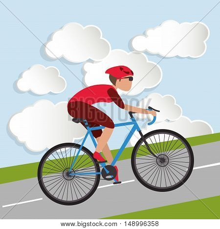 flat design cyclist, with clouds background image vector illustration