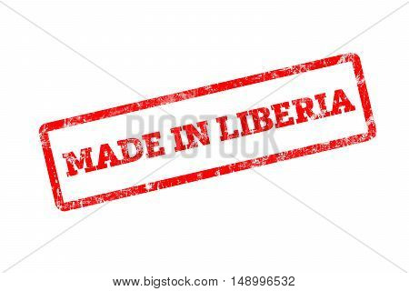 MADE IN LIBERIA word written on red rubber stamp with grunge edges.