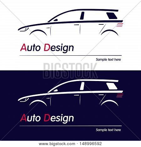 Vector company logo icon element template car contour shape sedan blue automobile service auto. Vector illustration for your buisness.