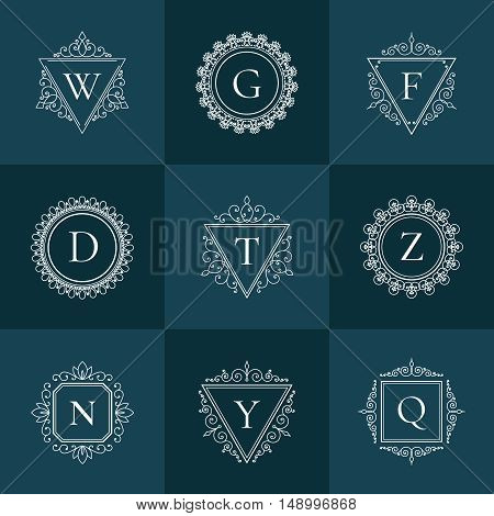 Luxury logo vintage thin line template concept pictogram set on dark background. Floral calligraphic elegant ornament linear emblem.