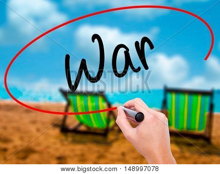 Man Hand Writing War With Black Marker On Visual Screen