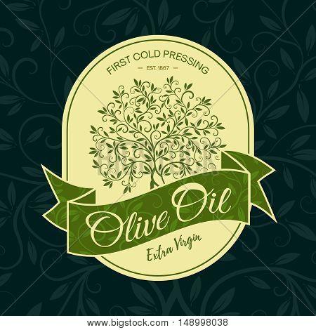 Extra virgin first cold pressing olive oil label modern vector illustration. Premium quality olive tree sticker logo design concept.