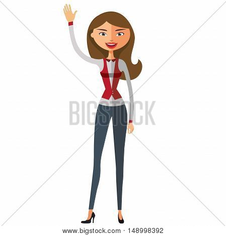 Cheerful young lady waving her hand.  Business woman waving her hand.