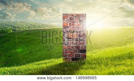 Conceptual image with door as new way