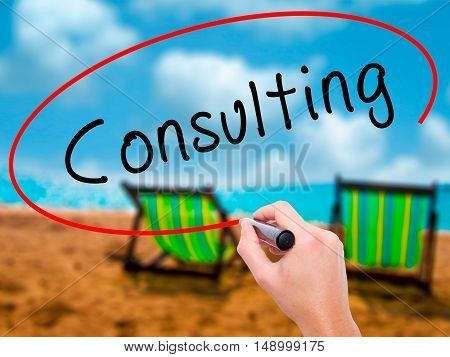 Man Hand Writing Consulting With Black Marker On Visual Screen