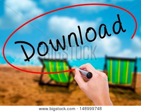 Man Hand Writing Download With Black Marker On Visual Screen