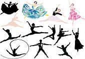 stock photo of ballet dancer  - illustration with ballet dancers isolated on white background - JPG
