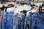 foto of clothes hanger  - Blue Jeans - JPG