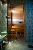 stock photo of swedish sauna  - Entrance to Swedish Sauna Room or Steam Room - JPG