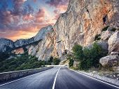 Постер, плакат: Asphalt Road Colorful Landscape With Beautiful Mountain Road