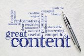 great content writing word cloud on a white lokta paper -  business writing and content marketing co poster