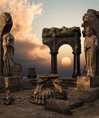 foto of fantasy landscape  - 3D rendered fantasy ancient temple ruins with statues - JPG