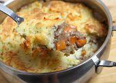 image of dutch oven  - A serving spoon full of shepherd - JPG