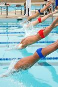 picture of swim meet  - A high school swim meet for competitve athletes and spectators  - JPG