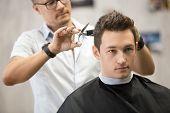 Постер, плакат: Portrait Of Handsome Young Man Getting Haircut