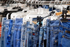 stock photo of clothes hanger  - Blue Jeans - JPG