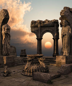 stock photo of fantasy landscape  - 3D rendered fantasy ancient temple ruins with statues - JPG