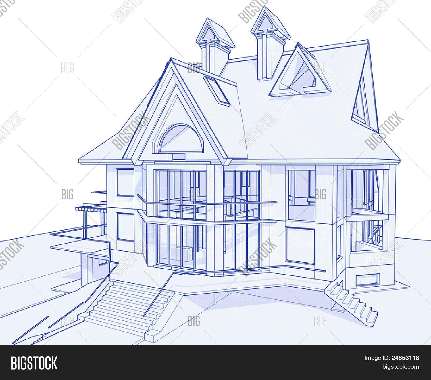 3d blueprint house: technical draw. Bitmap copy my vector ID ...