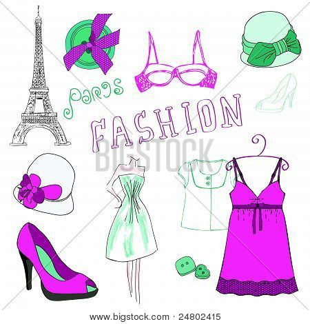 Fashion Scrap Elements - For Your Design And Scrapbook