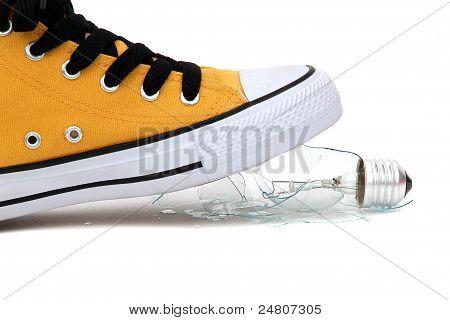 Fragments Of Bulb Under Sneaker