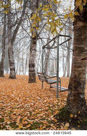 Swing vacía en el parque.