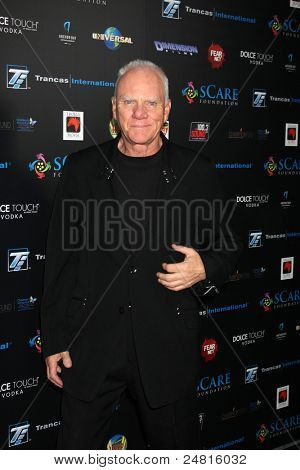 LOS ANGELES - OCT 30:  Malcolm McDowell arrives at the sCare Foundation Halloween Launch Benefit at Conga Room - LA Live on October 30, 2011 in Los Angeles, CA