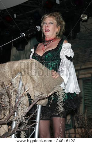 LOS ANGELES - OCT 30:  Donna Keegan speaks  at the sCare Foundation Halloween Launch Benefit at Conga Room - LA Live on October 30, 2011 in Los Angeles, CA