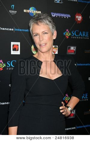LOS ANGELES - OCT 30:  Jamie Lee Curtis arrives at the sCare Foundation Halloween Launch Benefit at Conga Room - LA Live on October 30, 2011 in Los Angeles, CA